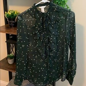 Green patterned button up blouse with ruffle